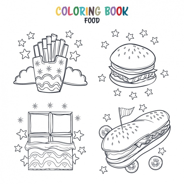 Fast food kleuring ontwerp Gratis Vector
