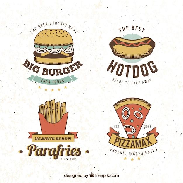 Fast food logo collectie Gratis Vector