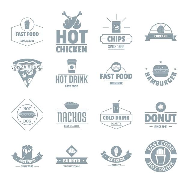 Fast-food logo pictogrammen instellen Premium Vector
