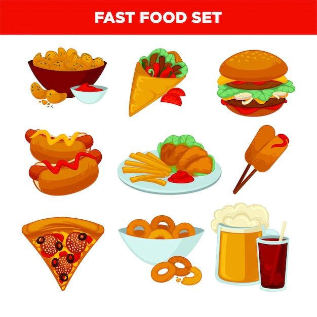 Fast-food maaltijd vector plat pictogrammen instellen Premium Vector