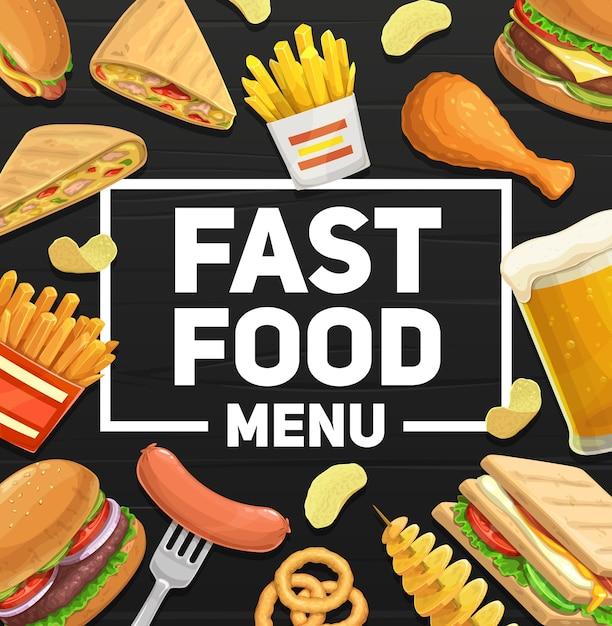 Fast-food maaltijden en snacks menu poster. Premium Vector