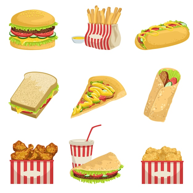 Fast food menu-items realistische gedetailleerde illustraties Premium Vector
