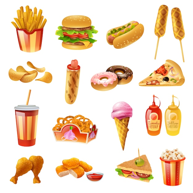 Fast food menu kleurrijke icons set Gratis Vector