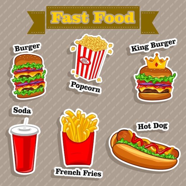 Fast-food menu vector illustratie Premium Vector