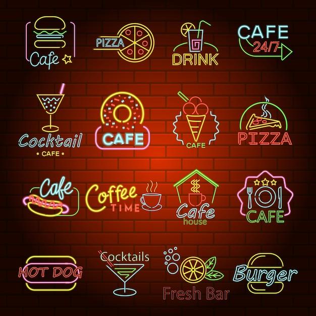 Fast-food neon gloed winkel teken pictogrammen instellen. Premium Vector