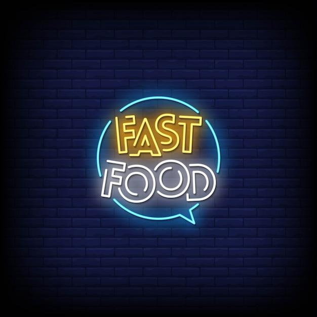 Fast-food neonreclames stijltekst Premium Vector