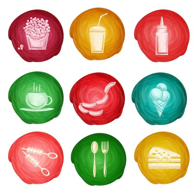 Fast-food pictogram aquarel Premium Vector