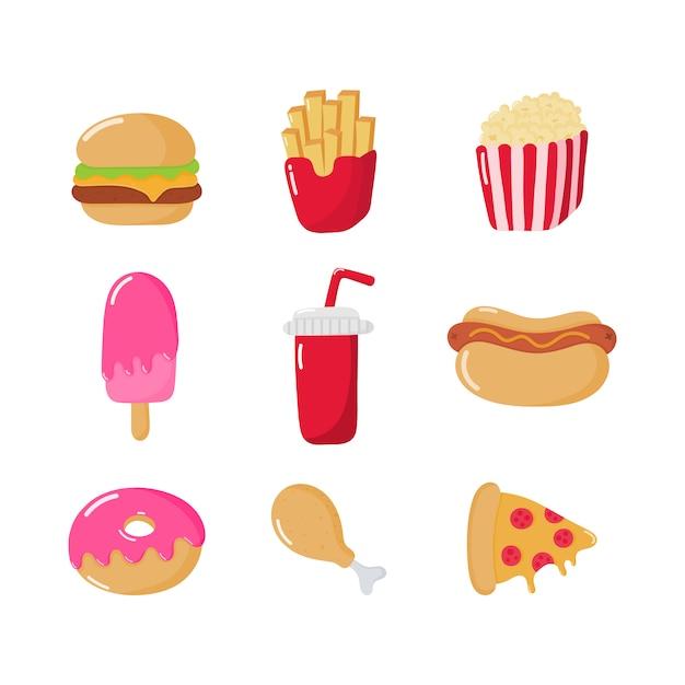 Fast-food pictogrammen instellen cartoon stijl geïsoleerd Premium Vector