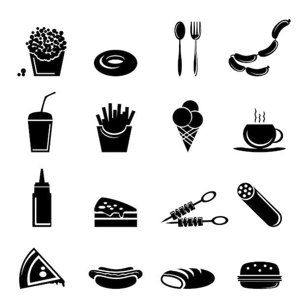 Fast-food pictogrammen Premium Vector