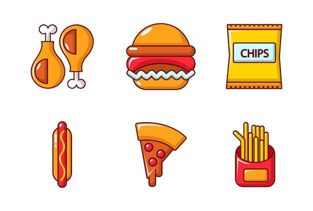 Fast food pictogramserie. beeldverhaalreeks snel voedsel vectorpictogrammen geplaatst geïsoleerd Premium Vector