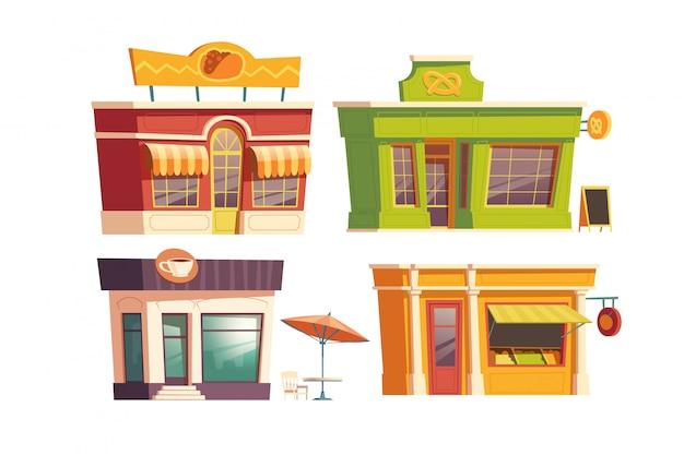 Fast-food restaurant gebouw cartoon Gratis Vector