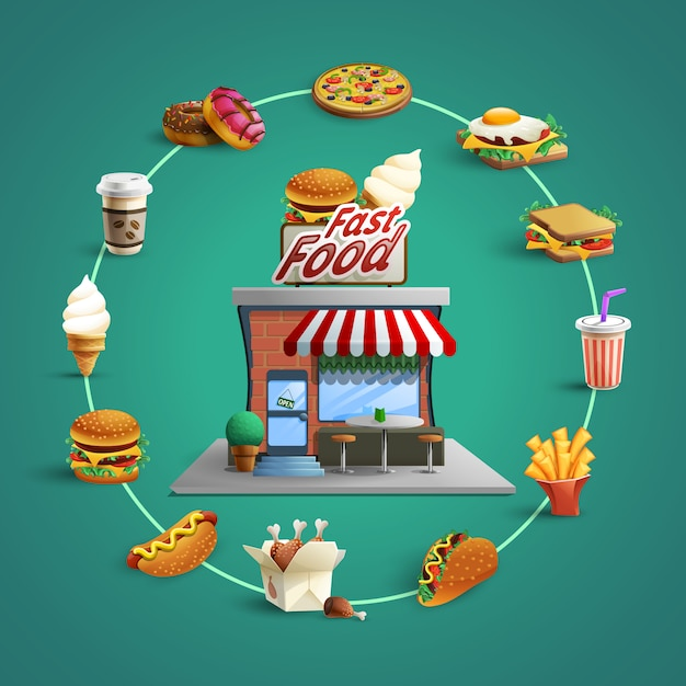 Fast-food restaurant pictogrammen cirkelsamenstelling banner Gratis Vector