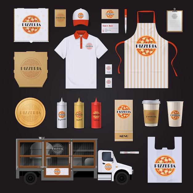 Fast food restaurants keten huisstijl sjablonen instellen met pepperoni pizza ontwerp Gratis Vector