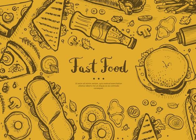 Fast-food retro restaurant menudekking Premium Vector