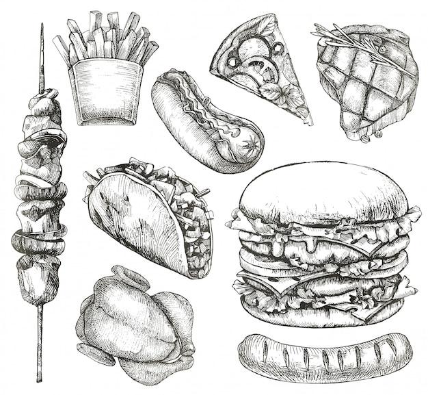 Fast food, schetsen, hand tekenen, vector set Premium Vector