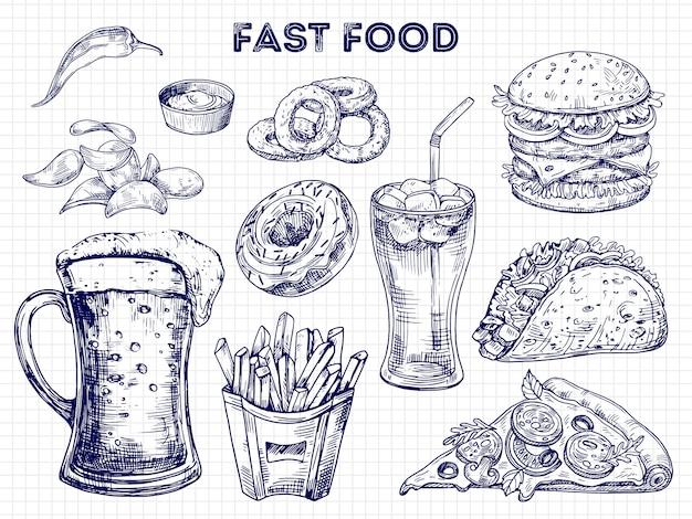 Fast food, snacks en drankjes schetsen illustratie Premium Vector