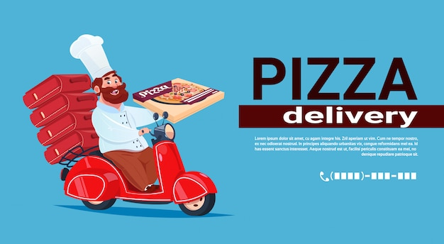 Fast pizza delivery concept chef-kok riding red motor bike. bannersjabloon Premium Vector