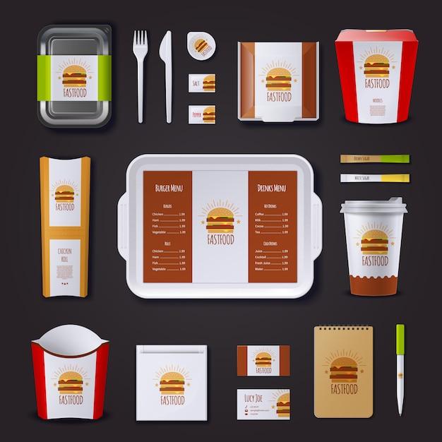 Fastfood bedrijfsidentiteit met set van verpakking en lade bezoeken kaarten kladblok Gratis Vector