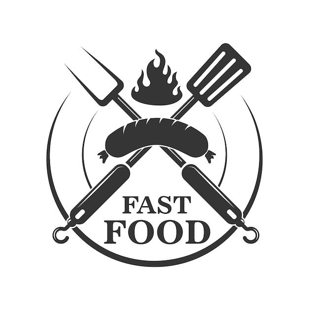 Fastfood café embleem sjabloon. gekruiste vork en keukenspatel met worst. element voor logo, label, teken. illustratie Premium Vector