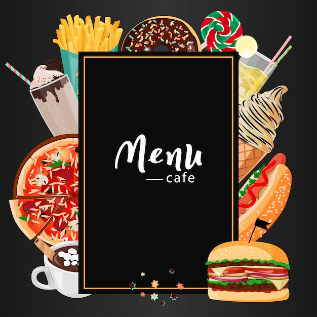 Fastfood cafe-menu. Premium Vector
