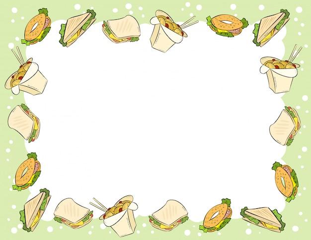 Fastfood en broodjes in komische stijl doodles bovenaanzicht frame Premium Vector