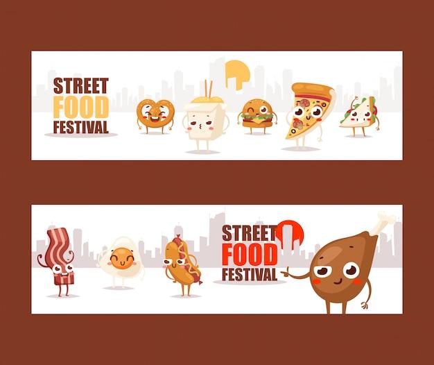 Fastfood grappige stripfiguren banners adverteren voor een street food festival Premium Vector