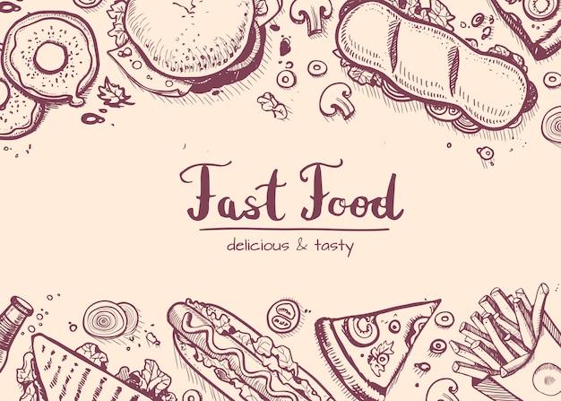 Fastfood hand getekend vintage achtergrond Premium Vector