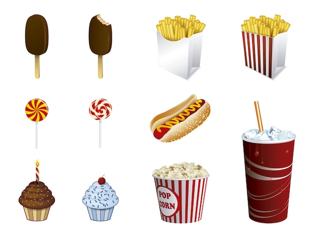 Fastfood icoon collectie Gratis Vector