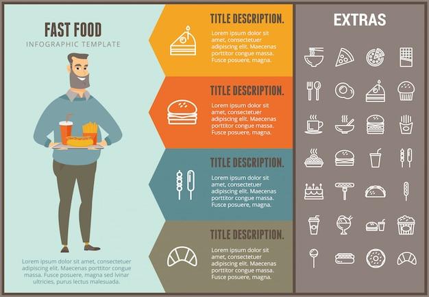 Fastfood infographic sjabloon en elementen Premium Vector
