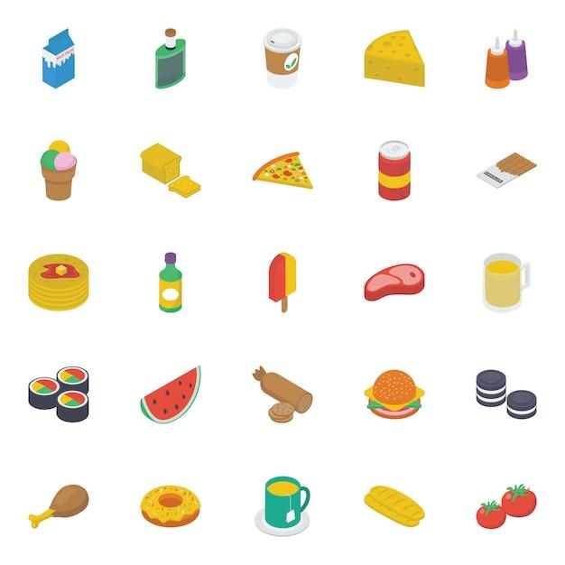 Fastfood isometrische pictogrammen pack Premium Vector