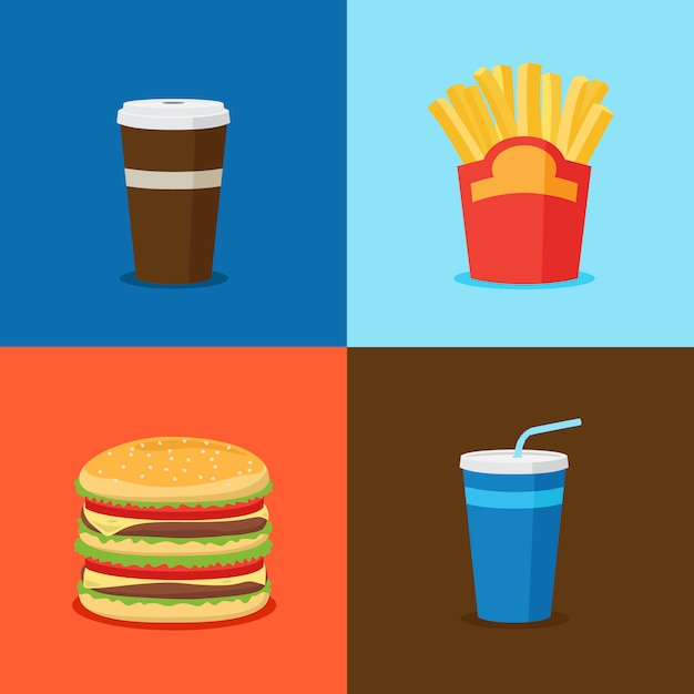 Fastfood junk food cartoon pictogrammen Premium Vector