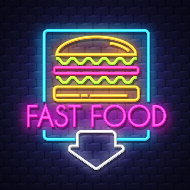 Fastfood-neonreclame Premium Vector