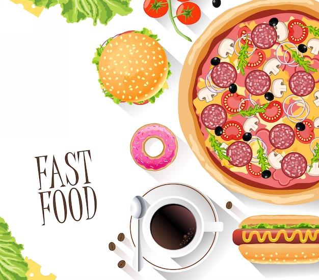 Fastfood platte banner voor decoratie websites, blad en andere Premium Vector