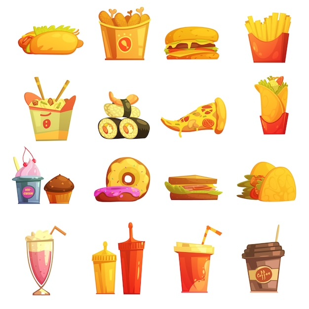 Fastfood retro cartoon iconen collectie met hotdog sushi hamburger en donuts Gratis Vector