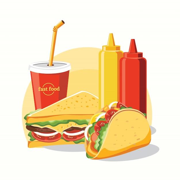 Fastfood, smakelijke set fastfood geïsoleerd op wit Premium Vector