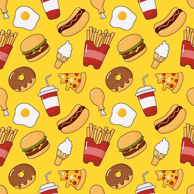 Fastfood snacks naadloos patroon. drankjes en dessert geïsoleerd op geel. Premium Vector