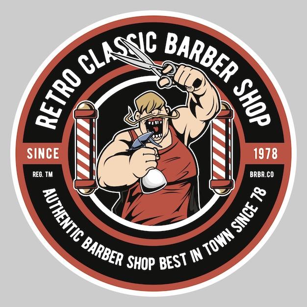 Fat barber shop Premium Vector