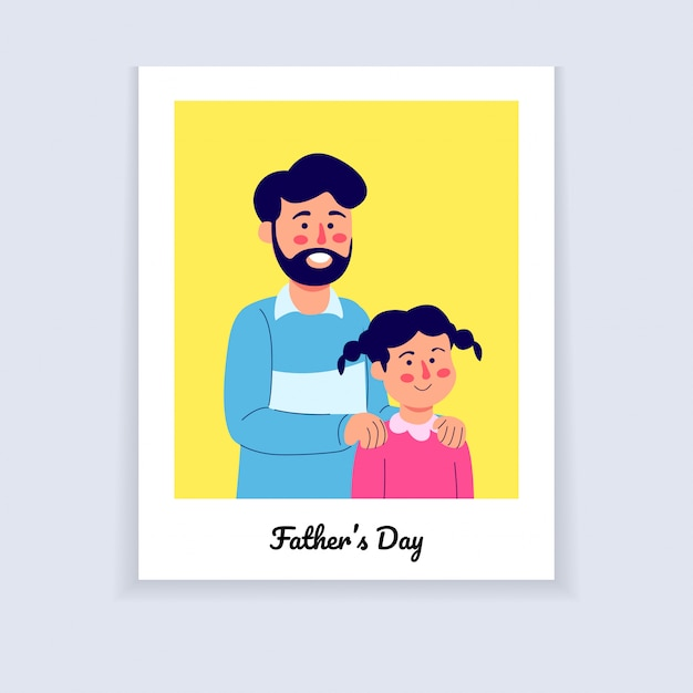 Fathers day illustratie foto potrait cartoon Premium Vector