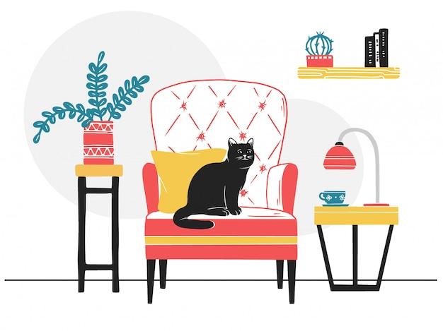 Fauteuil, kat op de stoel. Premium Vector