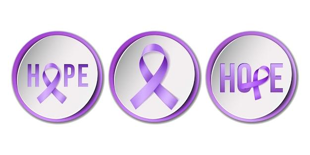 Februari awareness month-campagne met paars lint Premium Vector