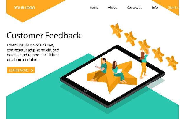 Feedback en beoordeling van klanten. bestemmingspagina. Premium Vector