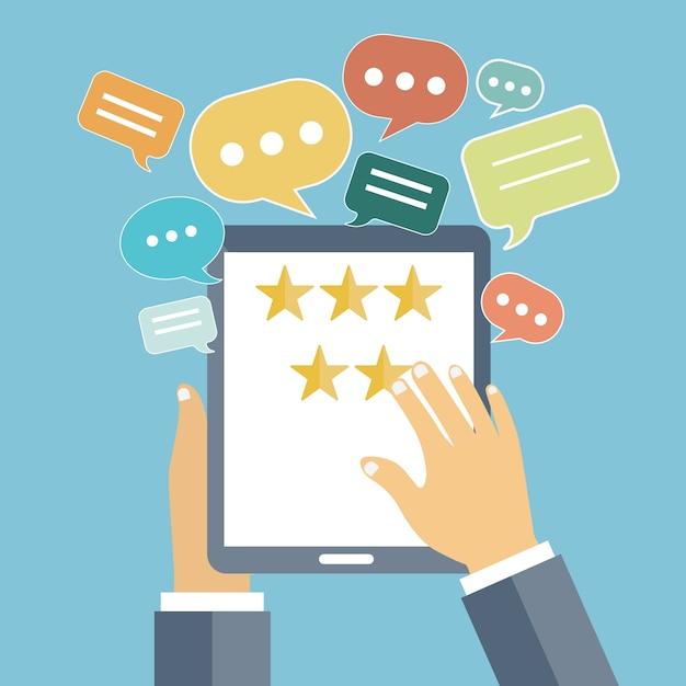 Feedback en beoordeling van website-beoordelingen Gratis Vector