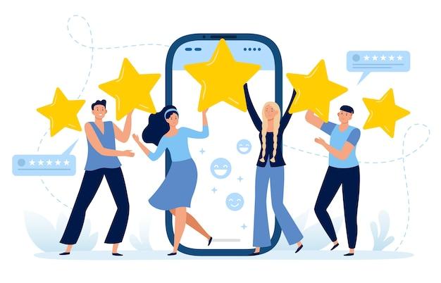Feedback van vijf sterren over mobiele apps Premium Vector