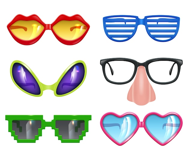 Feest bril. maskerade realistische grappige masker gekleurde partij mode gekleurde symbolen vector set. grappige glazen en zonnebril tot viering illustratie Premium Vector