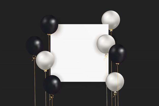 Feestelijke achtergrond met helium zwarte, grijze ballonnen met lint en lege ruimte voor tekst. vier een verjaardag, poster, banner gelukkige verjaardag. realistische decoratieve designelementen Premium Vector
