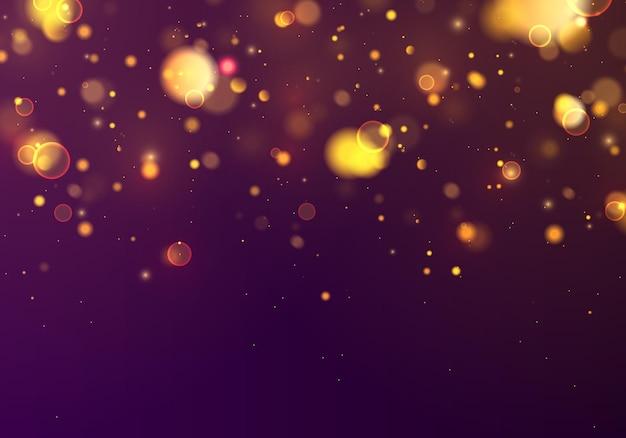 Feestelijke blauwe en gouden lichtgevende achtergrond met kleurrijke lichten bokeh. concept kerstmis. magische vakantie. nacht helder goud geel schittert licht abstract Premium Vector