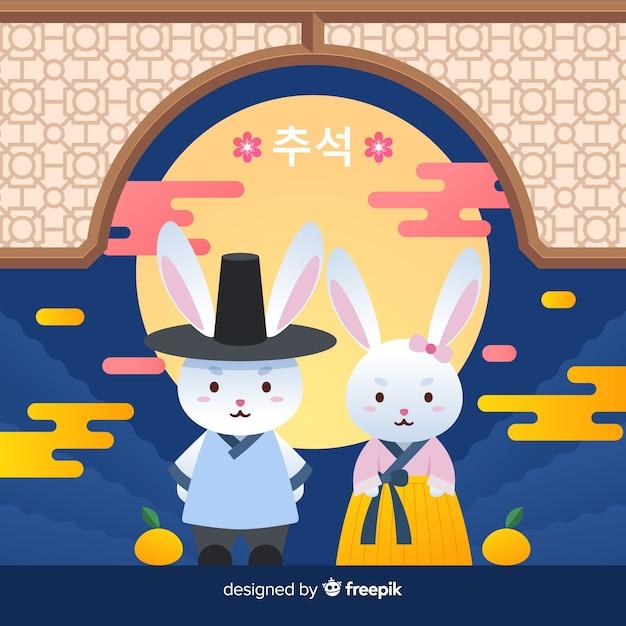 Feestelijke chuseok dag konijnen plat ontwerp Gratis Vector
