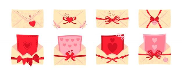 Feestelijke envelop, briefkaart platte set. valentijnsdag of bruiloft enveloppen voor brieven, versierde strikken. geopende, gesloten postomslag. cartoon nieuwsbrief, levering van uitnodiging. geïsoleerde illustratie Premium Vector