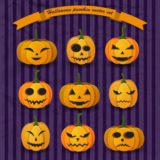 Feestelijke halloween-pompoenencollectie met verschillende uitdrukkingen en emoties Gratis Vector