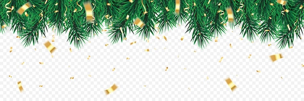 Feestelijke kerst- of nieuwjaarsachtergrond. kerstboom takken met confetti. vakantie's achtergrond. Premium Vector